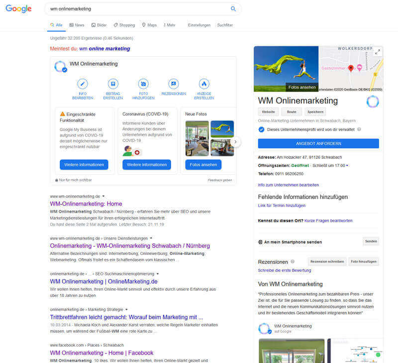 Abfrage Google my Business