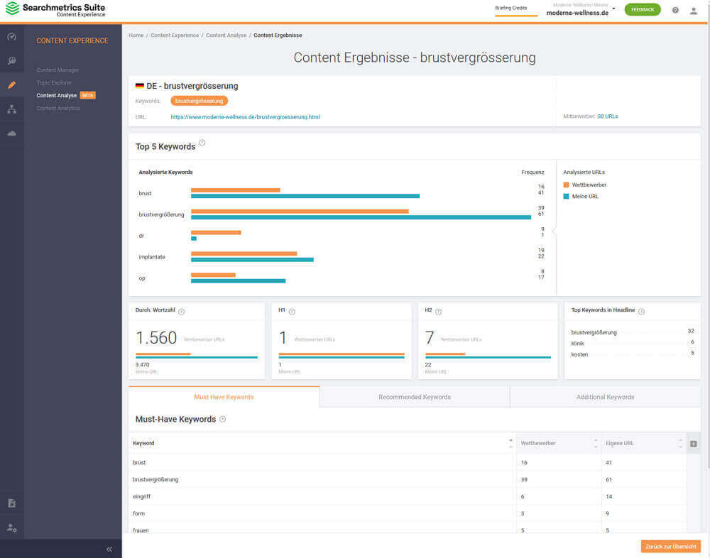 Content Analyse Searchmetrics