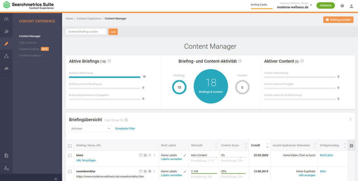 Searchmetrics Suite Content Experience