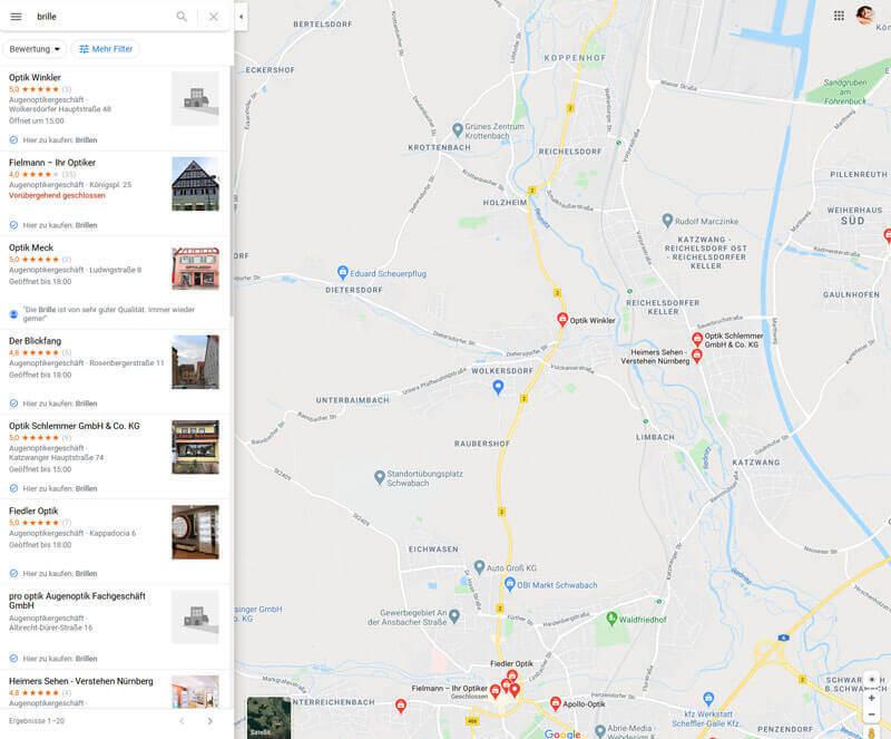 Anzeige bei Google Maps